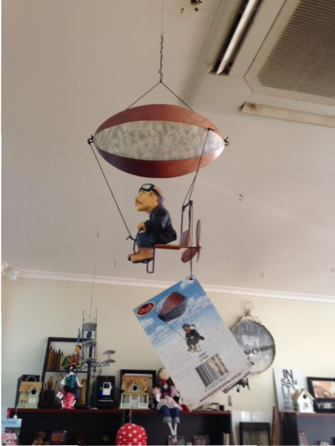 Mobile of a flying man - Tennant Creek cafe